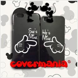 COVER DI COPPIA she's mine e he's mine per APPLE SAMSUNG HUAWEI LG SONY