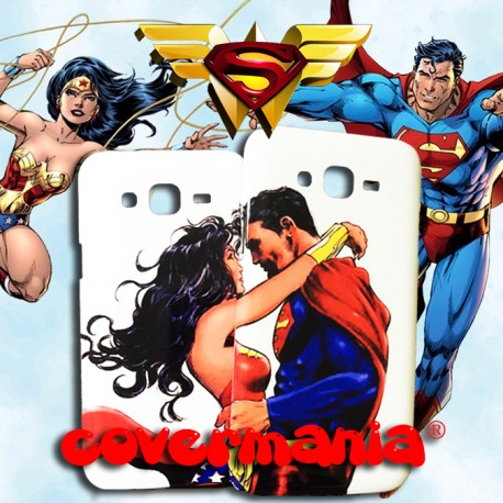 COVER DI COPPIA SUPERMAN E WONDER WOMAN per APPLE SAMSUNG HUAWEI LG SONY