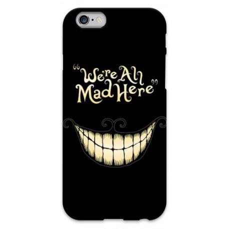 "COVER STREGATTO ""we're all mad here"" per iPhone 3g/3gs 4/4s 5/5s/c 6/6s Plus iPod Touch 4/5/6 iPod nano 7"