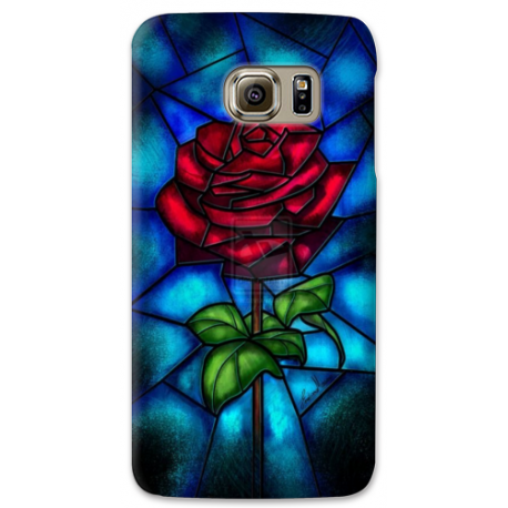 COVER ROSA INCANTATA BELLA E LA BESTIA per SAMSUNG GALAXY SERIE S, S MINI, A, J, NOTE, ACE, GRAND NEO, PRIME, CORE