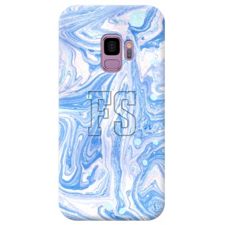COVER INIZIALI MARMO CELESTE BIANCO per APPLE IPHONE SAMSUNG GALAXY HUAWEI ASUS LG ALCATEL SONY WIKO VODAFONE MICROSOFT NOKIA