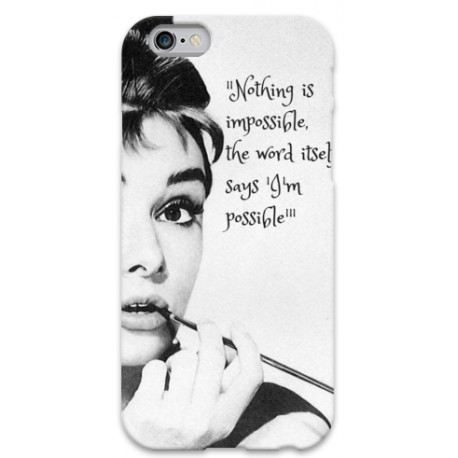 COVER AUDREY HEPBURN NOTHING IS IMPOSSIBLE per iPhone 3g/3gs 4/4s 5/5s/c 6/6s Plus iPod Touch 4/5/6 iPod nano 7