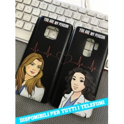 COVER DI COPPIA GREY'S ANATOMY NERA per APPLE SAMSUNG HUAWEI LG SONY ASUS WIKO