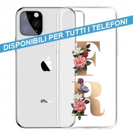 COVER TRASPARENTE INIZIALI FIORI FLOWERS per APPLE IPHONE SAMSUNG GALAXY HUAWEI ASUS LG ALCATEL WIKO XIAOMI