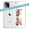 COVER TRASPARENTE INIZIALI FIORI FLOWERS 1 per APPLE IPHONE SAMSUNG GALAXY HUAWEI ASUS LG ALCATEL WIKO XIAOMI