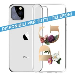 COVER TRASPARENTE INIZIALI FIORI FLOWERS 2 per APPLE IPHONE SAMSUNG GALAXY HUAWEI ASUS LG ALCATEL WIKO XIAOMI