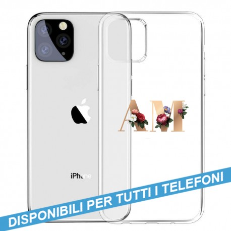 COVER TRASPARENTE INIZIALI FIORI FLOWERS 3 per APPLE IPHONE SAMSUNG GALAXY HUAWEI ASUS LG ALCATEL WIKO XIAOMI