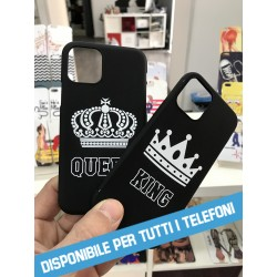 COVER DI COPPIA QUEEN KING black per APPLE SAMSUNG HUAWEI LG SONY ASUS WIKO XIAOMI