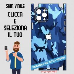 SKIN VINILE ADESIVO MIMETICA CAMOUFLAGE BLUE WRAPPING PER TUTTI I TELEFONI