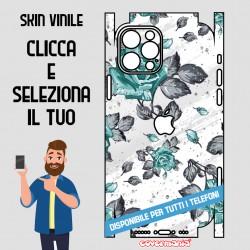 SKIN VINILE ADESIVO FIORI FLOWER CELESTE WRAPPING PER TUTTI I TELEFONI