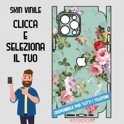 SKIN VINILE ADESIVO FIORI FLOWER VERDE WRAPPING PER TUTTI I TELEFONI