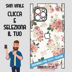 SKIN VINILE ADESIVO FIORI FLOWER BIANCO WRAPPING PER TUTTI I TELEFONI