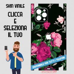 SKIN VINILE ADESIVO FIORI FLOWER NERO WRAPPING PER TUTTI I TELEFONI
