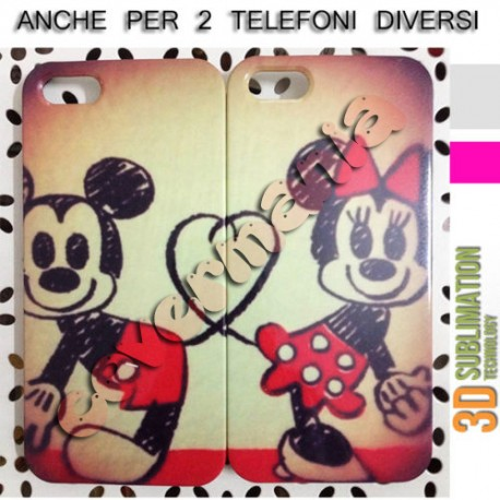 COVER DI COPPIA MINNIE E TOPOLINO CUORE per APPLE SAMSUNG HUAWEI LG SONY