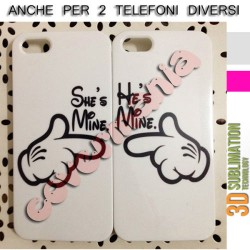COVER DI COPPIA SHE'S MINE E HE'S MINE BIANCO per APPLE SAMSUNG HUAWEI LG SONY