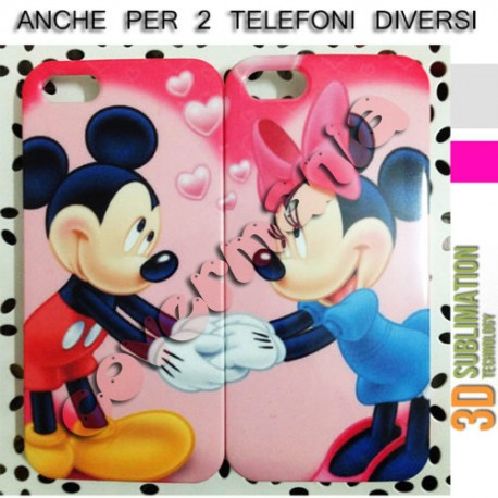 Favorito COVER DI COPPIA MINNIE E TOPOLINO CUORE ROSA per APPLE SAMSUNG  WL05