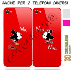 COVER DI COPPIA MR. TOPOLINO E MRS. MINNIE per APPLE SAMSUNG HUAWEI LG SONY