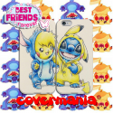 COVER DI COPPIA STITCH E PIKACHU per APPLE SAMSUNG HUAWEI LG SONY